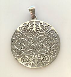 Large Round Sterling Silver Filigree Pendant - Vintage Silver Filigree Pendant by MagicalUniverse on Etsy