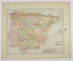 1896 Antique Spain Map, Vintage Spanish Decor Wall Map, Portugal Map, Spain Gift for Her, Vacation Gift for Family available from OldMapsandPrints.Etsy.com #Spain #Portugal #VintageSpanishDecor
