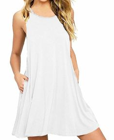 123d25d3f8c lymanchi Women Swing Dress Sleeveless Casual Loose T-Shirt Dresses W   Pockets  fashion
