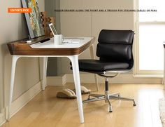Ideal for a clutter-free work zone: a hidden drawer along the front, a raised surface along the back, and a trough for stashing cables or pens.   Herman Miller Airia Desk