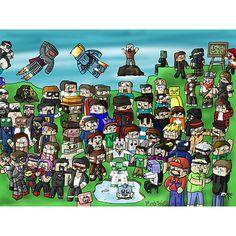 Minecrafters, I recognize Yogscast, Honeydew, TheCampingRusher, Antvenom, CaptainSparklez, SkydoesMinecraft, BajanCanadian, CavemanFilms, NoahCraftFTW, Dawnables, SetoSorcerer, Minecraft Universe, HuskyMudkipz, KermitPlaysMinecraft, Notch, Deadlox, Etho, Slamacow, SethBling, BigBadManPig, Generikb, BebopVox, GoldSolace, Tobuscus, and ExplodingTNT. Comment and tell me any of the other peoplez.