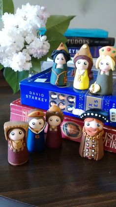 Handmade Polymer Clay Henry VIII and his Six Wives (Catherine of Aragon, Anne Boleyn, Jane Seymour, Anne of Cleves, Katherine Howard, and