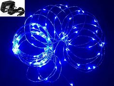 YeMarket 12V 100 LED Lights String 33ft Waterproof LED Starry Light With Power Adapter For Christmas Wedding and Party Blue -- Read more at the image link.