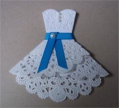 Doily Dress Folds Tutorial- for invites or party decor or craft- could frame on top of patterned scrap paper