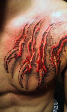 Claw Tattoo Design On Chest - http://tattooideastrend.com/claw-tattoo-design-on-chest/ - #Chest, #Design, #Tattoo