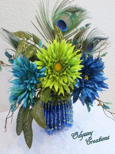 Victorian Peacock Silk Floral Arrangement in green, blue and turquoise with real peacock feathers