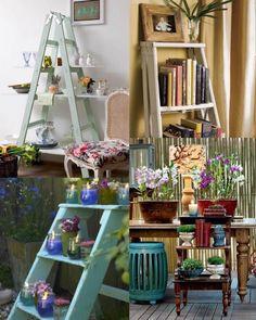 Escada estantes: pode ainda se transformar em uma estante inusitada na copa, ir para a sala com os livros ou na varanda, terraço ou jardim com velas e flores: