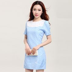 New Womenswear fashion Pearl round neck slim short sleeve flower dress in summer