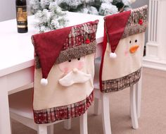 Santa Claus Embroidered Chair Back Cover for Christmas Kitchen Dinner Chair Covers Decorations Chair Back Covers, Dining Chair Covers, Chair Backs, Snowman Decorations, Christmas Table Decorations, Christmas Chair Covers, Christmas Cover, Dinner Party Table, Christmas Kitchen
