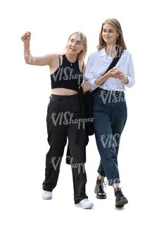 two cut out young women walking and talking Cut Out People, Young Women, Parachute Pants, Harem Pants, Walking, Fashion, Moda, Harem Trousers, Fashion Styles