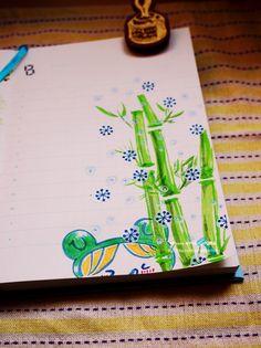 20140809【0808的手帳】 竹子,雪,和覺得很涼快的FROG GIRL。  這天超熱,所以想畫清涼的圖XDDD