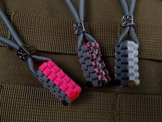 Lady's Paracord Lanyard set with zink alloy Flower Beads. $12.00, via Etsy.