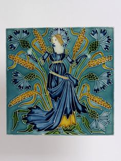 """""""Flora's Train"""" Tile Panel / Walter Crane / 1900-1901 / earthenware, with relief decoration, painted with coloured glazes"""