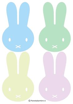 Sagome di simpatici coniglietti di Pasqua già pronte da stampare, ritagliare e utilizzare per le decorazioni di scuole e case nel periodo pasquale