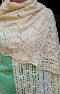 Knit Wrap Pattern:  Scalloped Lace Wrap Knitting Pattern. $6.50, via Etsy.