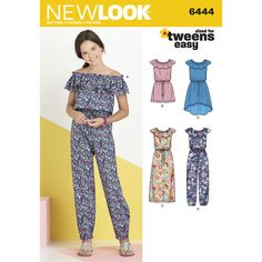 New Look Pattern 6444 Girl's Dress and Jumpsuit in Two Lengths