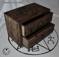 "Supernatural Inspired ""Jewelry Curse Box"" I'm a huge fan of supernatural. Been talking about wanting the car for like 5 years. I still own my necklaces this would be cool to keep them in Supernatural Crafts, Supernatural Merchandise, Supernatural Fandom, Supernatural Jewelry, Oil Based Stain, Octopus Design, Jewellery Storage, Jewellery Box, Diy Jewelry"