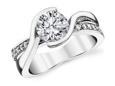 Semi Bezel Swirl Diamond Engagement Ring