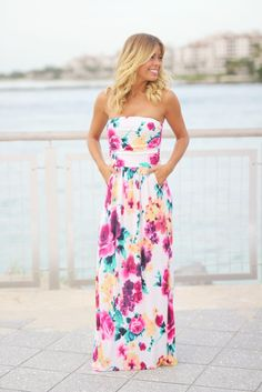 Ivory Floral Maxi Dress with Pockets Strapless Maxi 1900120f6