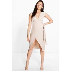 Boohoo Allie Wrap Front Dress ($30) ❤ liked on Polyvore featuring dresses, sand, layering cami, holiday dresses, special occasion dresses, white bodycon dress and white evening dresses