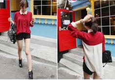 Korean Pleat Shoulder Color Block Blouse Red - $21.29 on @ClozetteCo