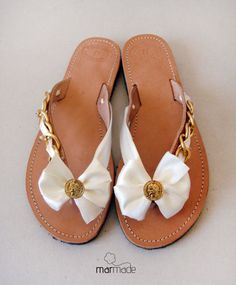 Leather flip flop sandals with off white ribbon and by MyMarmade, €42.00