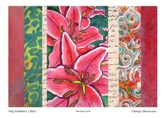 Sketchbook Series: My mother's lillies; found vintage text, hand-painted, -printed, and embellished paper scraps