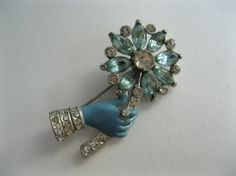 Vintage 1930s Coro Hand Brooch Floral Pin Blue Enamel Rhinestones