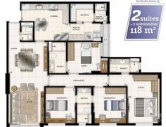 Apartamento de 4 ou + quartos à Venda, Aguas Claras - DF - AV. DAS ARAUCARIAS - R$ 660.000,00 - 118,34m² - Cod: 1250840 New Architecture, Suites, Tiny House Design, House Plans, Sweet Home, Floor Plans, Layout, Flooring, How To Plan