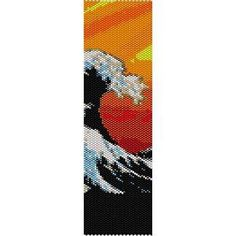 GREAT WAVE OF KANAGAWA - LOOM beading pattern for cuff bracelet  (buy any 2 patterns - get 3rd FREE)