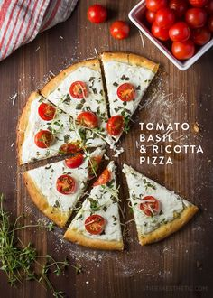 Tomato Basil & Ricotta Pizza - Combining yogurt and ricotta with some sautéd onions and garlic, makes the perfect base, while adding some chopped basil, cherry tomatoes and thyme makes rounds out this beauty. It's unique flavor combination will definitely Casa Pizza, Pizza Pizza, Pizza Recipes, Cooking Recipes, Recipes Dinner, Dinner Ideas, Comida Pizza, Ricotta Pizza, Easy Pizza Dough
