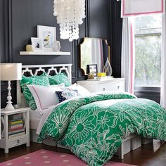 PB teen, nice arrangement with dresser on one side and night stand on the other side of bed. Perfect for a young adult - grown up but still fun.