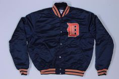 Vintage Detroit Tigers Baseball MLB Team Sports Satin Snap Jacket XL
