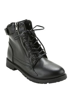 375761d3cc Black Sweater Trim Combat Boots