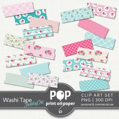 Shabby Chic digital washi tape - POP print on paper