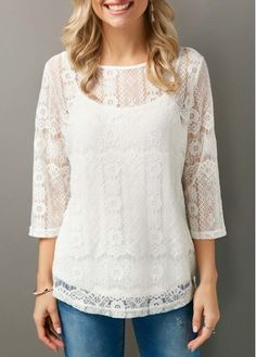 Round Neck Three Quarter Sleeve Lace Panel Blouse on sale only US$31.11 now, buy cheap Round Neck Three Quarter Sleeve Lace Panel Blouse at liligal.com