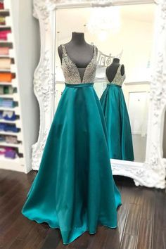 Beaded Plunging V-neckline Floor-length Teal Green Satin Prom Dress PG395;Evening Dresses,Party Dresses,Prom Gowns