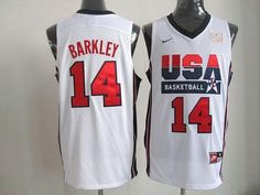 Nike Team USA #14 Charles Barkley White 2012 USA Basketball Retro Embroidered NBA Jersey