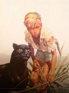 Pierre Joubert - Le Tigre et sa panthère - Guy de Larigaudie Norman Rockwell, Boy Drawing, Figure Drawing, Illustrations, Illustration Art, Jungle Art, Human Art, Boy Art, Art Graphique