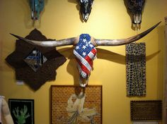 American Flag Mosaic Cow Skull by ReneGibson on Etsy from ReneGibson on Etsy. Saved to Wall Decor. Deer Skull Art, Cow Skull Decor, Skull Wall Art, Deer Skulls, Animal Skulls, Painted Cow Skulls, Western Wall Decor, Longhorn Cow, Rustic Chic Decor