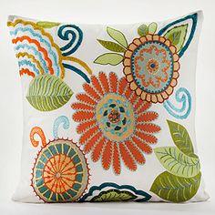 Graphic Wild Flowers Toss Pillow