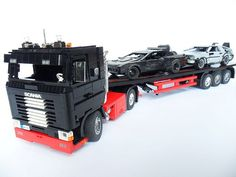 To have more space in my shelf i built a trailer for my Scania.:-) Here is the complete one with a few mods.Thanks to Dennis for the nice stickers. Lego Cars, Lego Truck, Lego Trains, Lego Vehicles, Cool Lego Creations, Lego Technic, Semi Trucks, Cool Toys, School