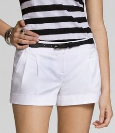 $20 Pleated Stretch Cotton Shorts