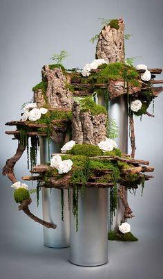 Preserved Flower Display by Donaldo Radovich - Deko Blumen - Moss Garden, Bonsai Garden, Garden Art, Garden Design, Deco Floral, Floral Design, Fleur Design, Deco Nature, Decoration Plante