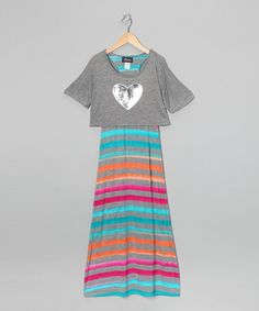 Take a look at this Jade Rainbow Stripe Layered Maxi Dress - Girls by Btween on #zulily today!