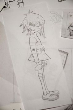 Here is a place where I will post all of the official Gorillaz art. I claim none of this art and it is all created by Jamie Hewlett. I will NOT be posting any fan art (including edits). Damon Albarn, Tank Girl, Gorillaz Art Style, Character Design References, Character Art, Blur, Jamie Hewlett Art, Gorillaz Noodle, Monkeys Band