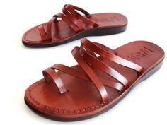 NEW brown Leather Sandals VENUS style SIZE 8 Women flip flop slides flats SHOES