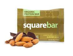 Squarebar Organic Protein Bar - Chocolate Coated Almond Spice - 1.7 Oz - Case Of 12