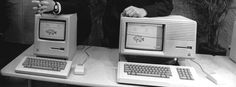 Apple-Mitbegründer Steve Jobs (l.) und der damalige Präsident John Sculley im Januar 1984 bei der Präsentation des ersten Macs.  Infografik: So reich wären Sie, wenn Sie 1984 Apple-Aktien gekauft hätten! http://www.spiegel.de/wirtschaft/unternehmen/apple-aktienwert-nach-rekordgewinn-a-1015232.html