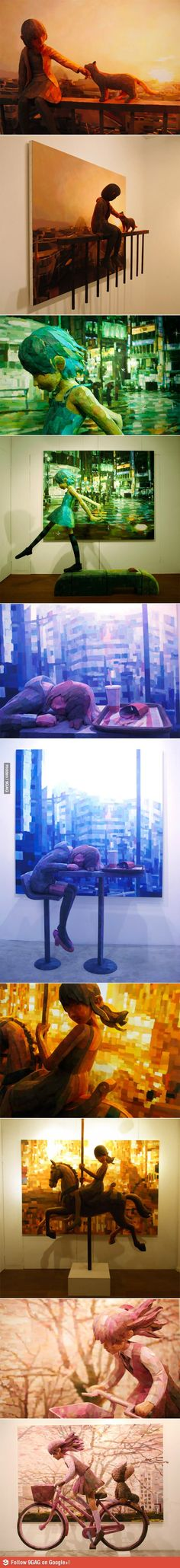 Shintaro Ohata combines sculpture and canvas in his art. This is AMAZING! I love it!